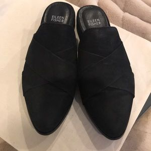 Eileen Fisher Bauer-Nu Black Mule Slide 7.5 Shoes